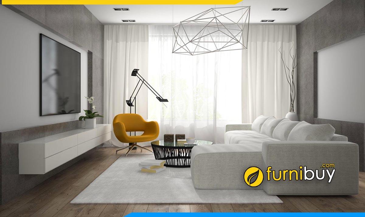 Hình ảnh kệ tivi treo tường kết hợp sofa chữ L phòng khách