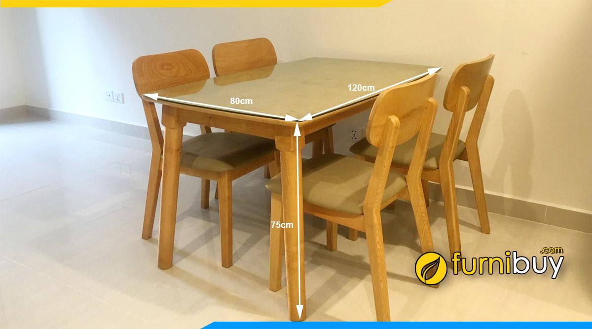 Kích thước bàn ăn 4 ghế chữ nhật chuẩn nhất cho khách hàng