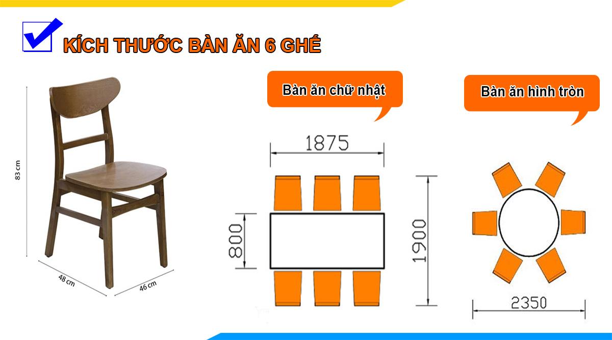 Kích thước bàn ăn 6 ghế bao nhiêu CM