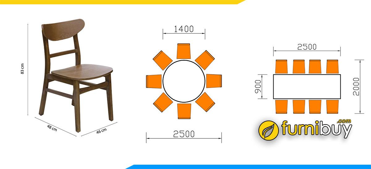 Kích thước bàn ăn 8 ghế bao nhiêu Centimet