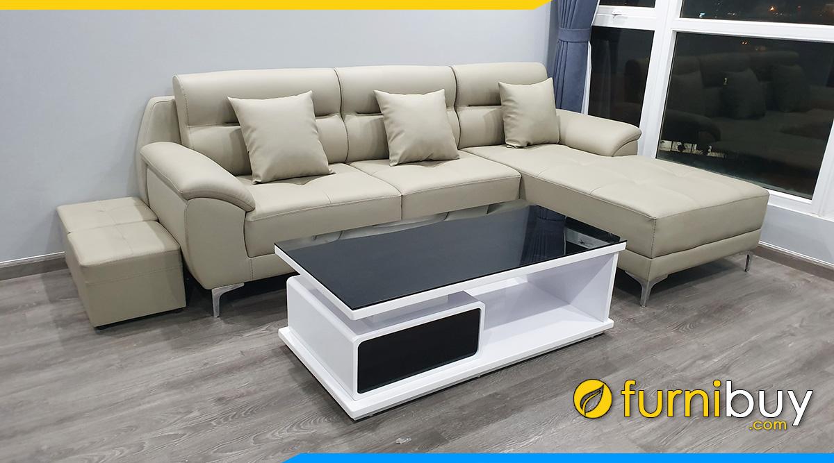 Ban sofa go cong nghiep 1 ngan keo va sofa da phong khach