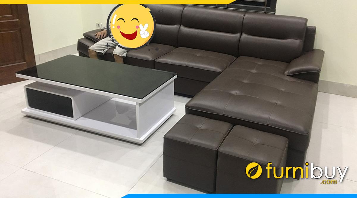 Phong khach ke sofa da va ban sofa nhap khau 1 ngan