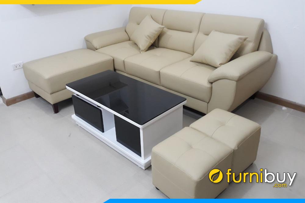 Sofa da phong khach dep va ban tra sofa go mat kinh