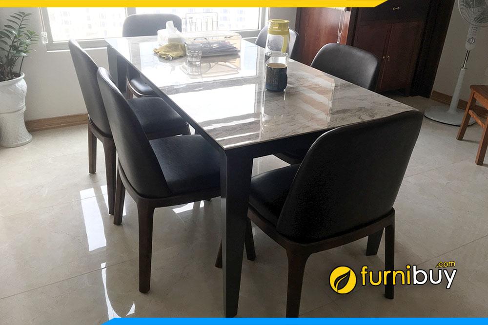 Hình ảnh mẫu bàn ăn 6 ghế mặt đá màu óc chó BA046