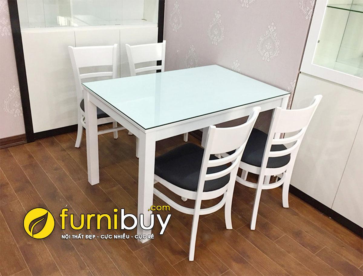 Hình ảnh mẫu bàn ăn gỗ 4 ghế sơn trắng BA019 tại nhà khách hàng