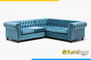 Bộ ghế sofa góc tân cổ điển FB20162 được bọc chất liệu nỉ màu xanh trang nhã, hài hòa