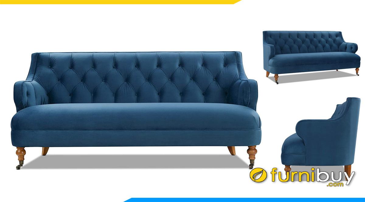 mau ghe sofa vang kieu tan co dien ke phong khach mau xanh co ban