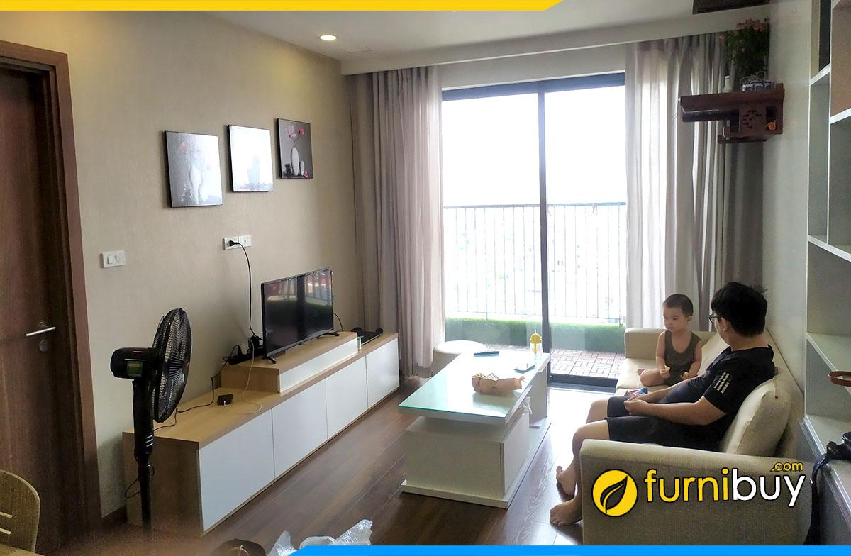 Hình ảnh Mẫu kệ tivi đẹp cho phòng khách chung cư nhỏ