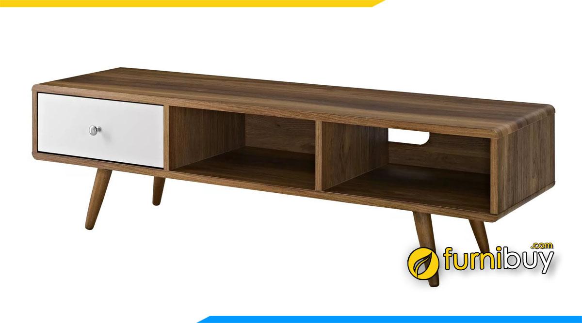 Hình ảnh Mẫu kệ tivi đơn giản gỗ công nghiệp chân gỗ cao