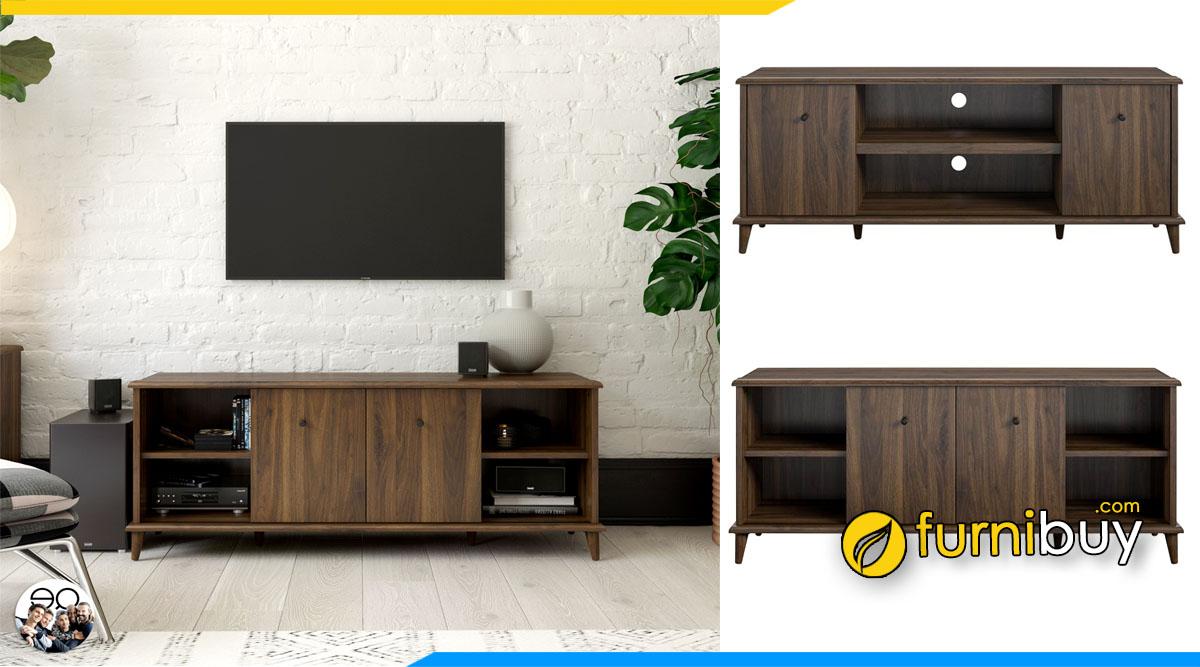hình ảnh Mẫu kệ tivi gỗ công nghiệp màu óc chó 2 tầng đơn giản