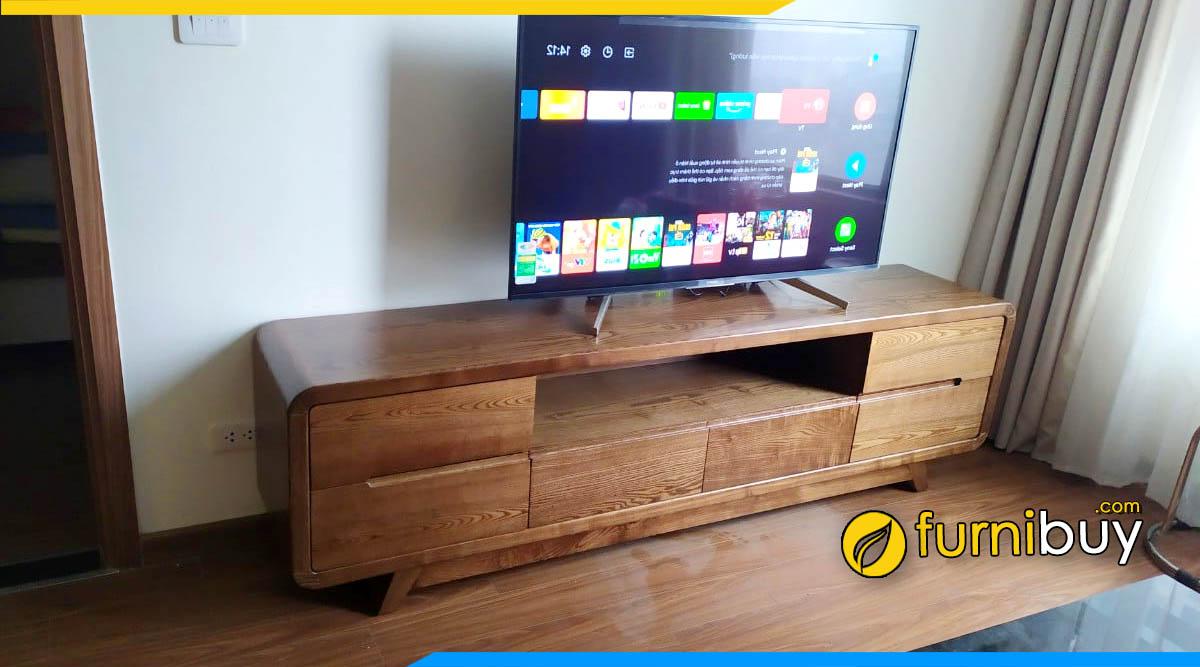 Hình ảnh mẫu kệ tivi gỗ sồi phòng khách đẹp