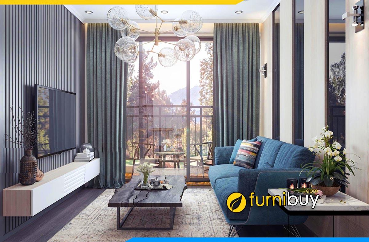 Hình ảnh mẫu kệ tivi kết hợp sofa văng nỉ hiện đại đẹp