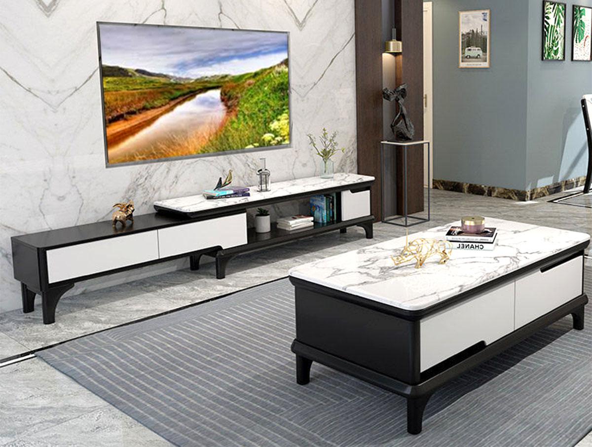 Hình ảnh Mẫu kệ tivi mặt đá kết hợp bàn trà mặt đá chữ nhật đẹp
