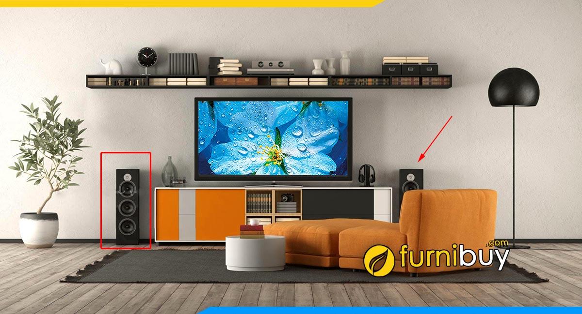 Hình ảnh Mẫu kệ tivi và loa đẹp cho phòng khách chung cư nhỏ