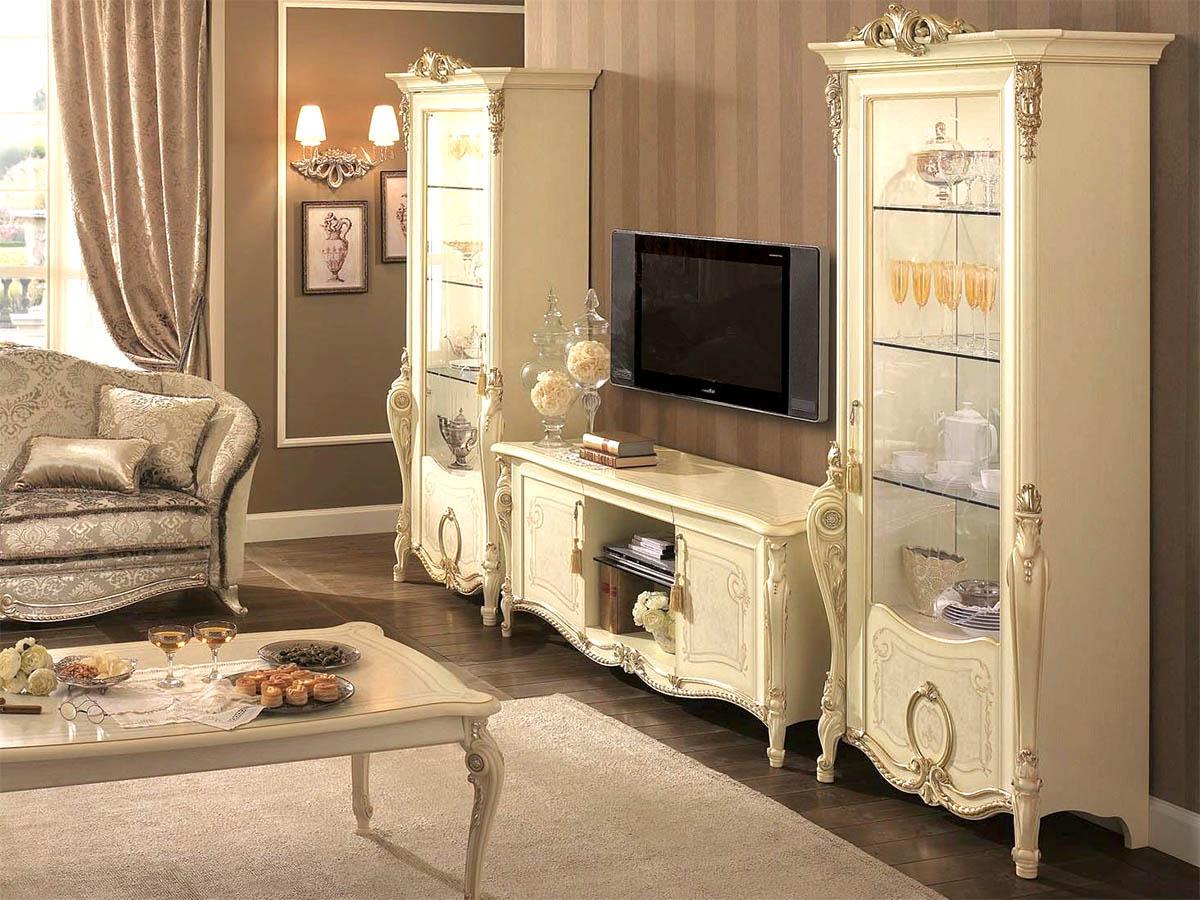 Hình ảnh mẫu tủ tivi tân cổ điển sang trọng phòng khách