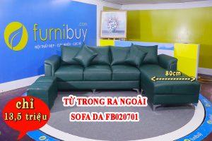 Sofa da màu xanh lính cá tính