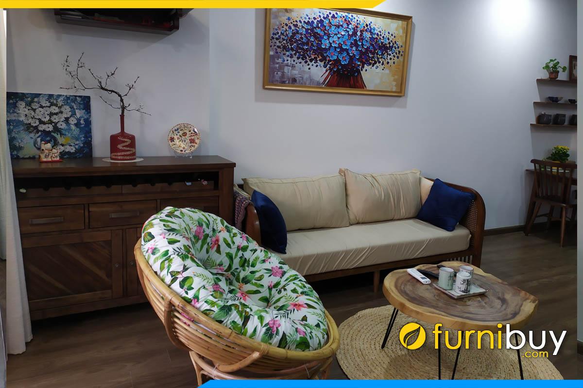 sofa phong khach chung cu dang go nem ni hien dai