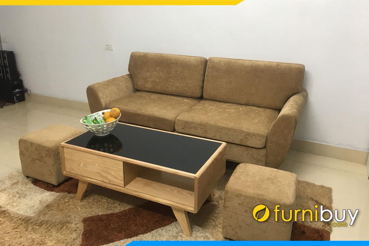 sofa phong khach dang vang 2 cho ngoi boc ni cao cap