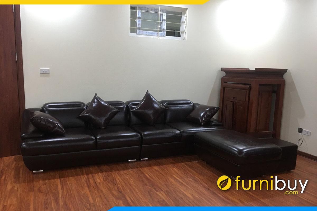 sofa phong khach dang vang lon mau nau