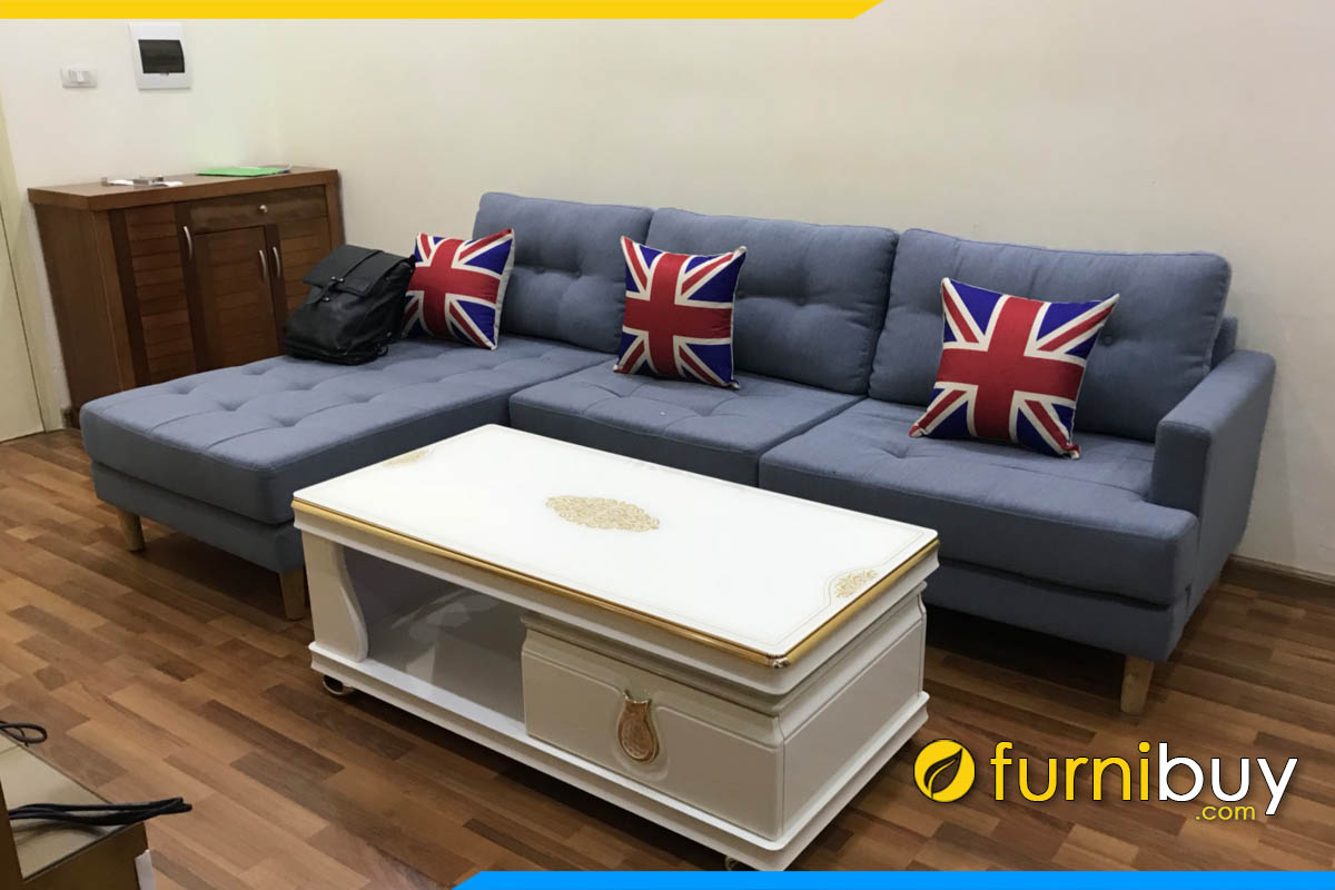 sofa phong khach don gian dang goc chu l boc ni mau xanh