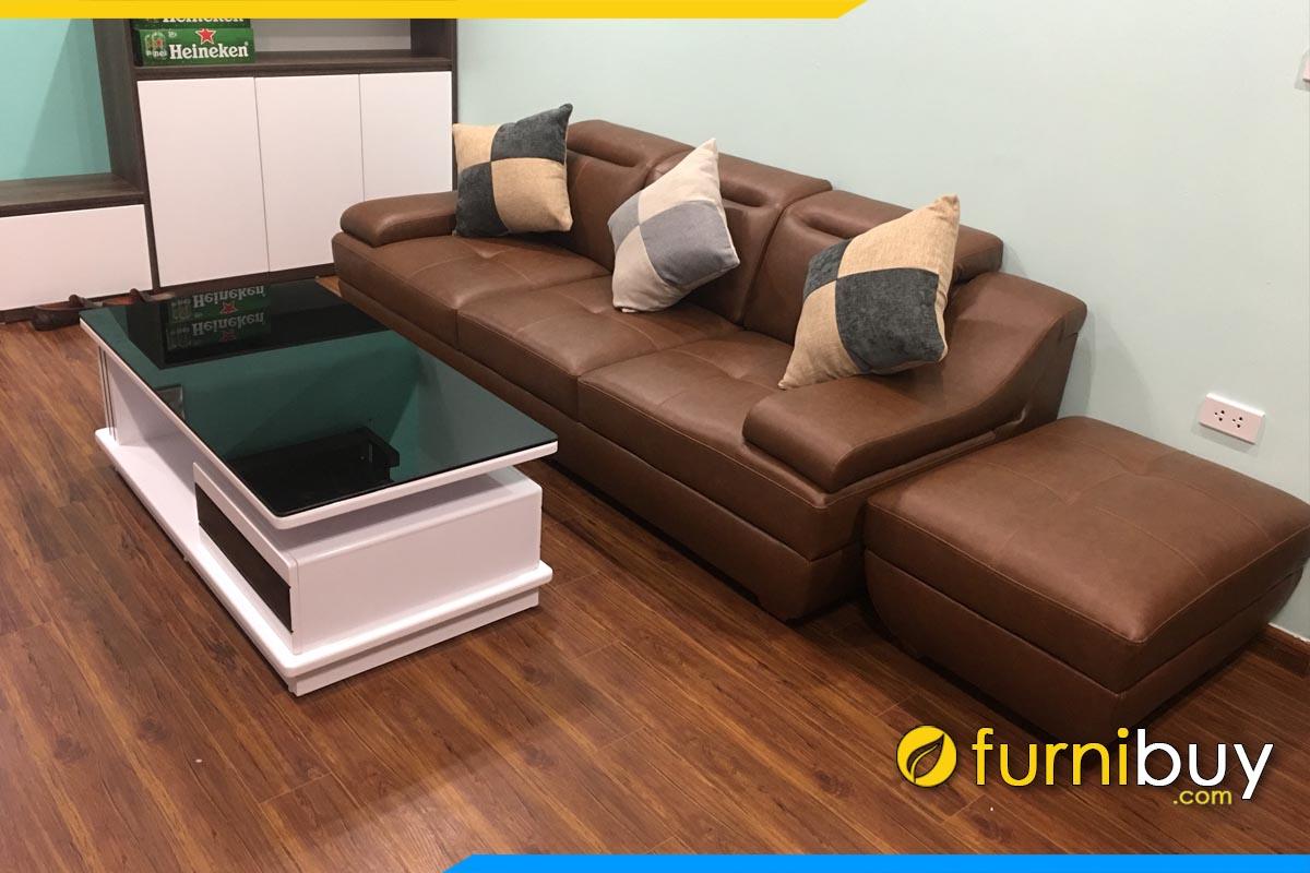 sofa phong khach hien dai boc da dang vang 3 cho ngoi