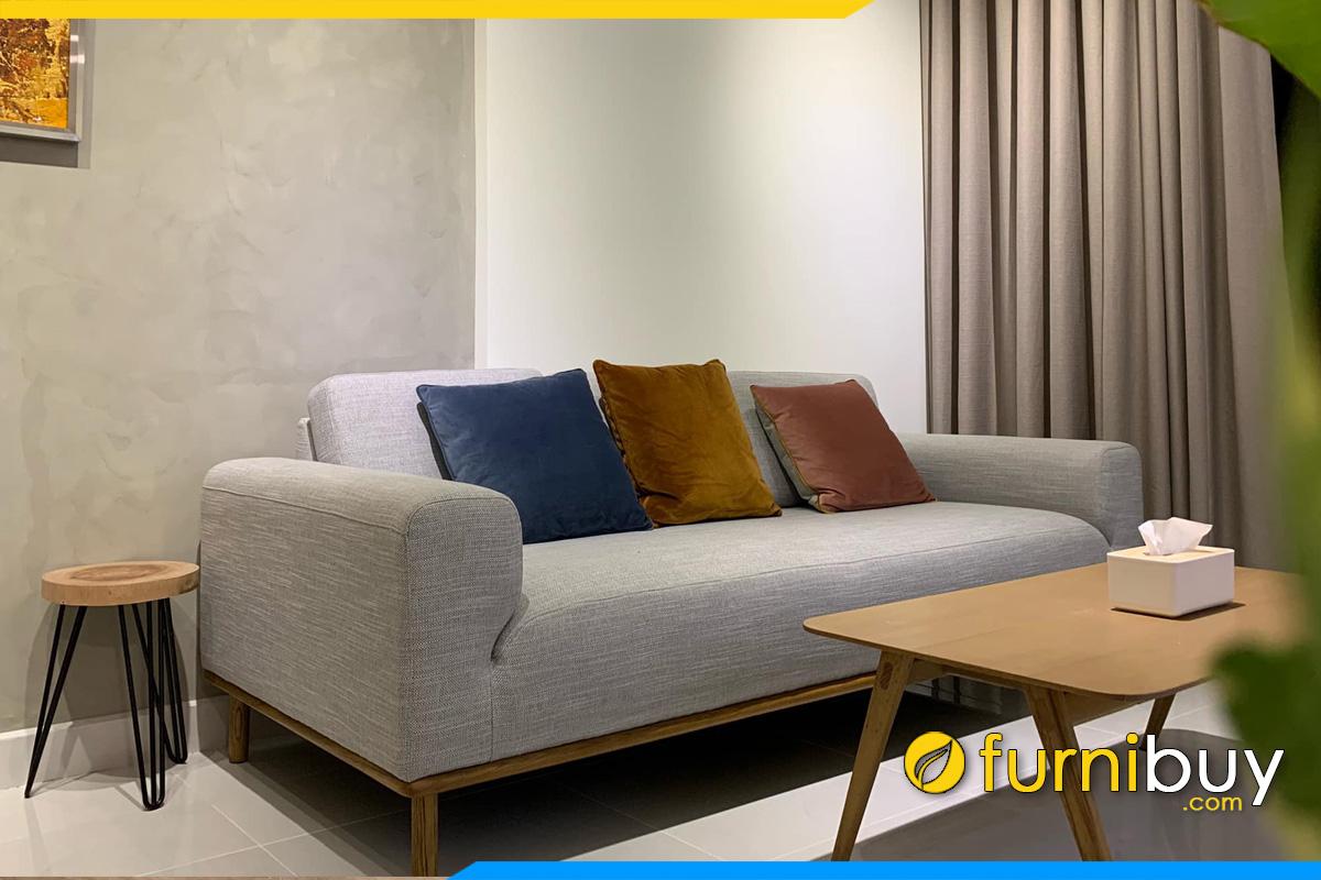sofa vang 2 cho boc ni phong cach don gian