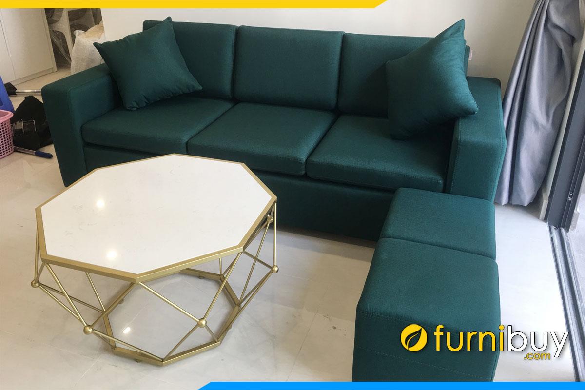 sofa vang 3 cho ngoi mau xanh la tham ke phong khach