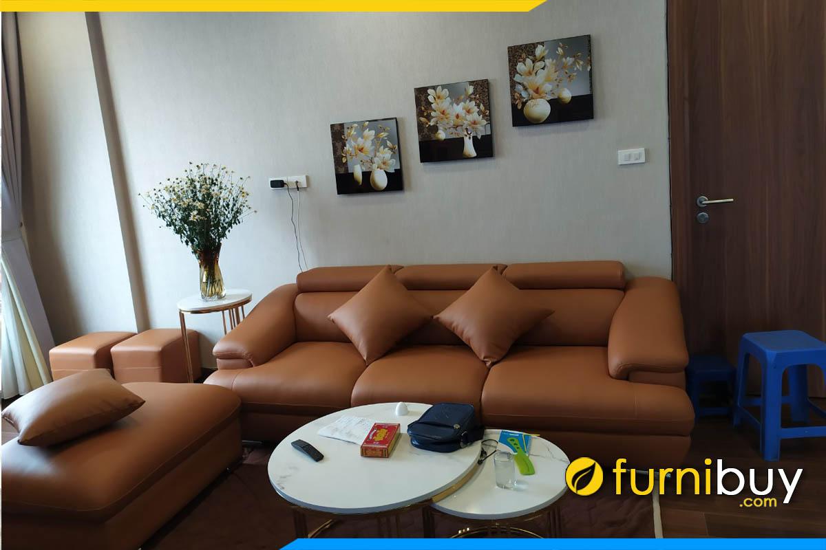 sofa vang phong khach 3 cho ngoi boc da mau nau