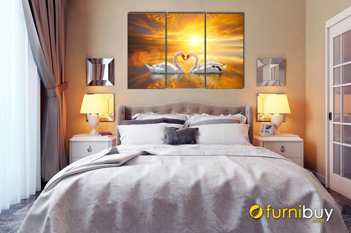 Hình ảnh Tranh treo phòng ngủ vợ chồng đôi chim thiên nga