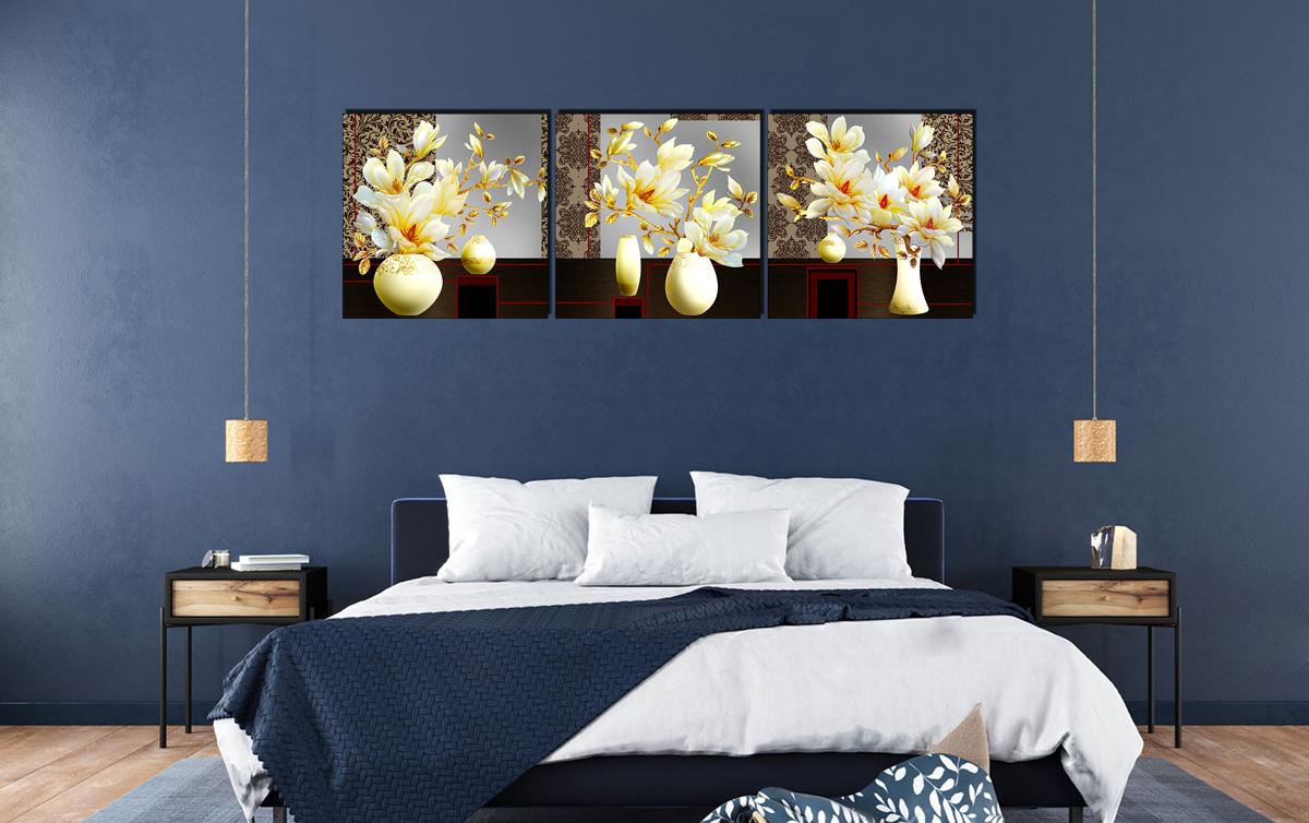 Hình ảnh Bộ tranh bình hoa mộc lan trang trí tường phòng ngủ đẹp mã 1406
