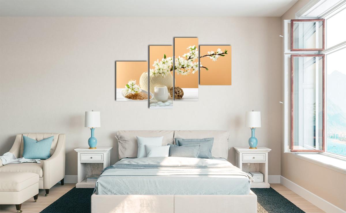 Hình ảnh Bộ tranh bình hoa trắng treo phòng ngủ mệnh Kim đẹp sang trọng