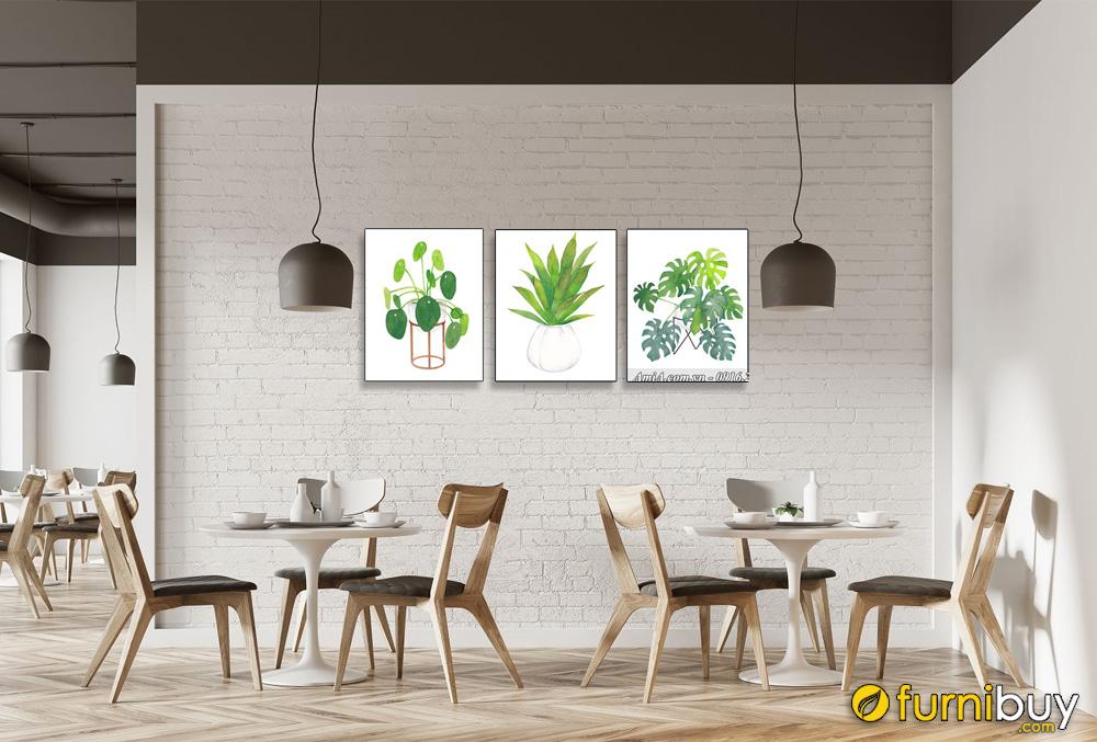 Tranh bộ canvas lá cây trang trí nhà hàng quán ăn hiện đại AmiA 4249