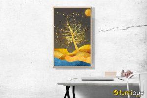 Tranh canvas cây ánh vàng treo phòng học trẻ em khổ dọc AmiA CV 251