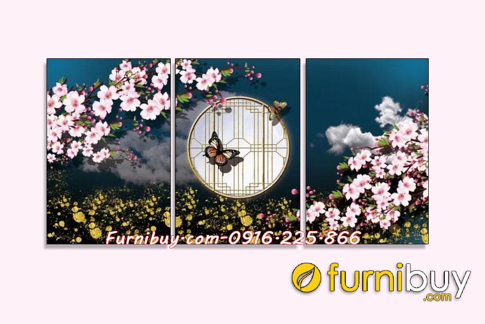 Tranh canvas ghép bộ 3 tấm đẹp AmiA 919014