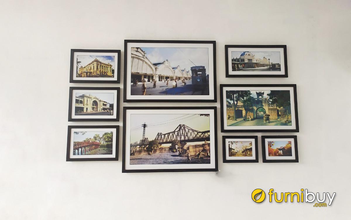 Hình ảnh Bộ tranh đen trắng treo phòng khách nhà phố đẹp