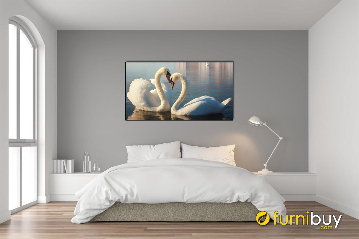 Hình ảnh Tranh đôi chim thiên nga treo phòng ngủ đẹp hiện đại