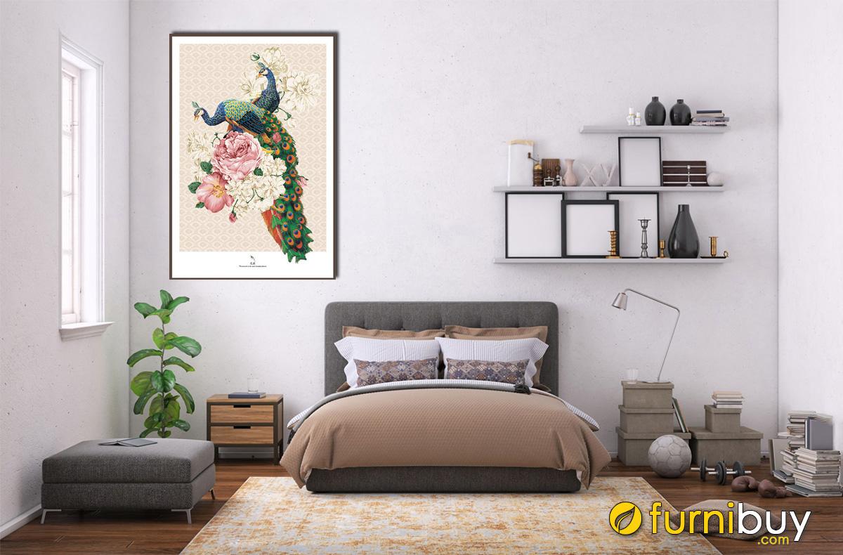 Hình ảnh Tranh đôi chim công khổ đứng treo tường phòng ngủ đẹp