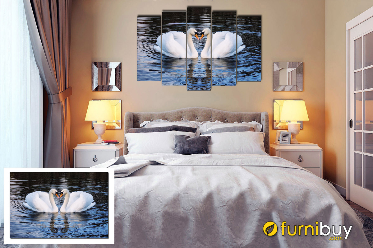 Hình ảnh Tranh đôi thiên nga trắng treo phòng ngủ lãng mạn