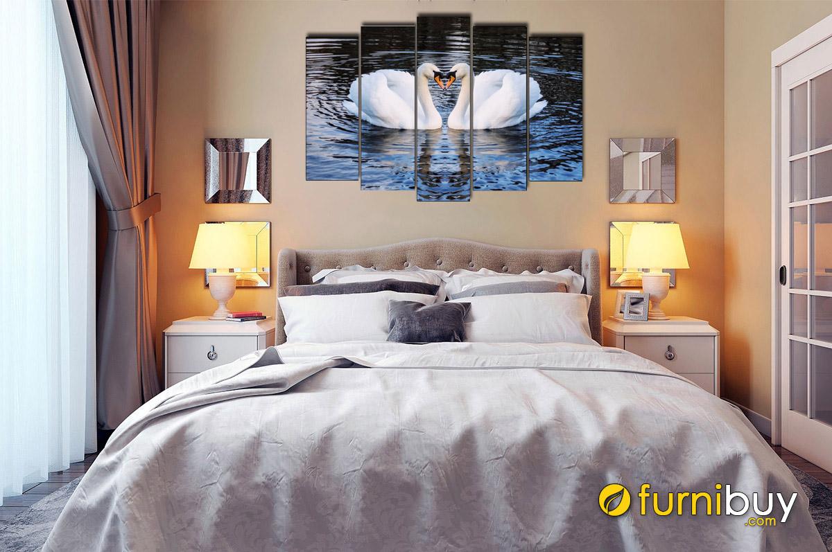 Hình ảnh Tranh đôi thiên nga treo phòng ngủ vợ chồng đẹp hiện đại và lãng mạn