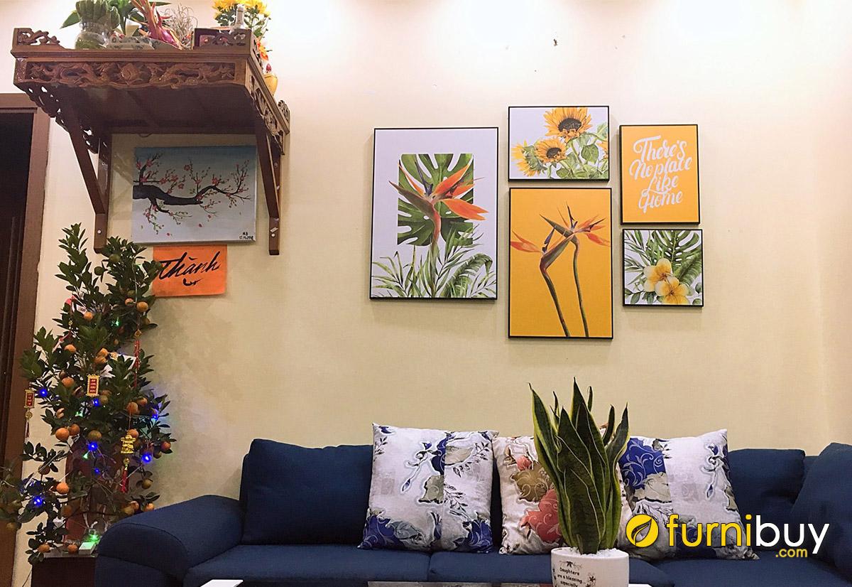 Hình ảnh Tranh hoa lá cây trang trí phòng khách chung cư đẹp hiện đại