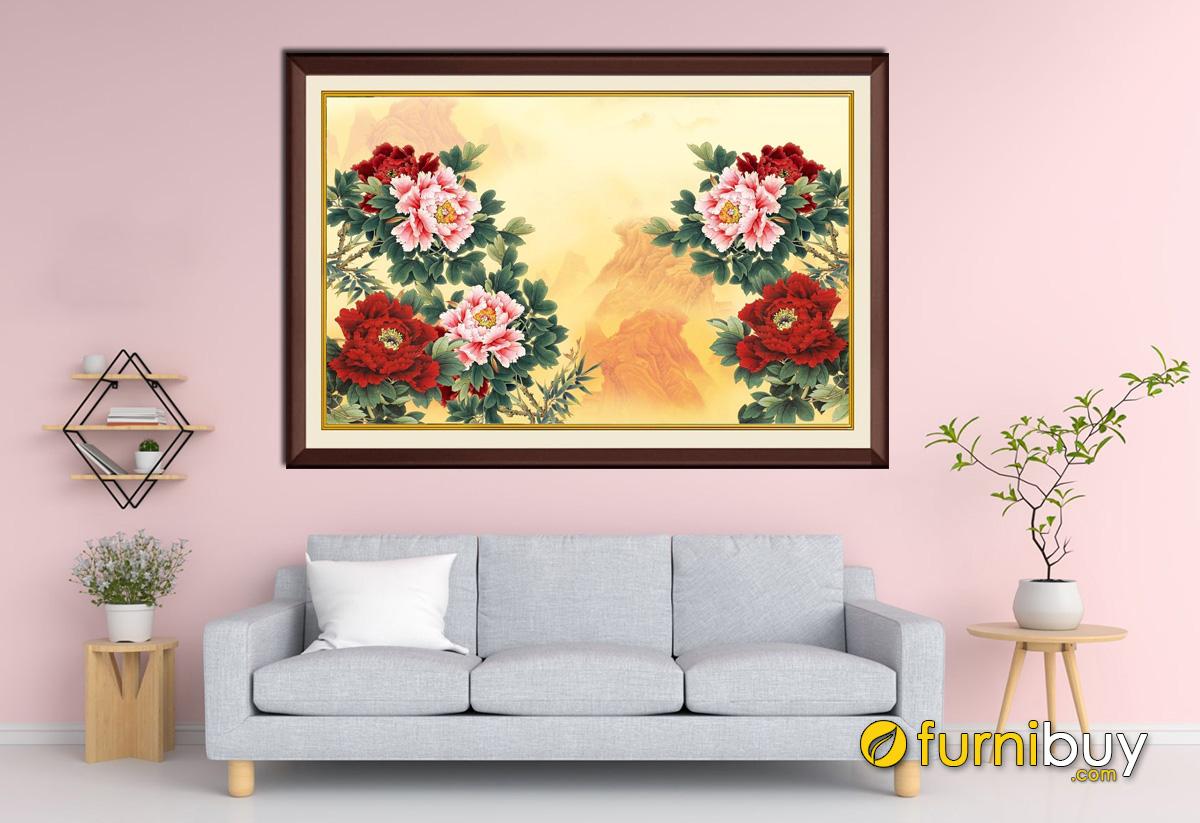 Hình ảnh Tranh hoa mẫu đơn treo phòng khách nhà chung cư đẹp 1 tấm
