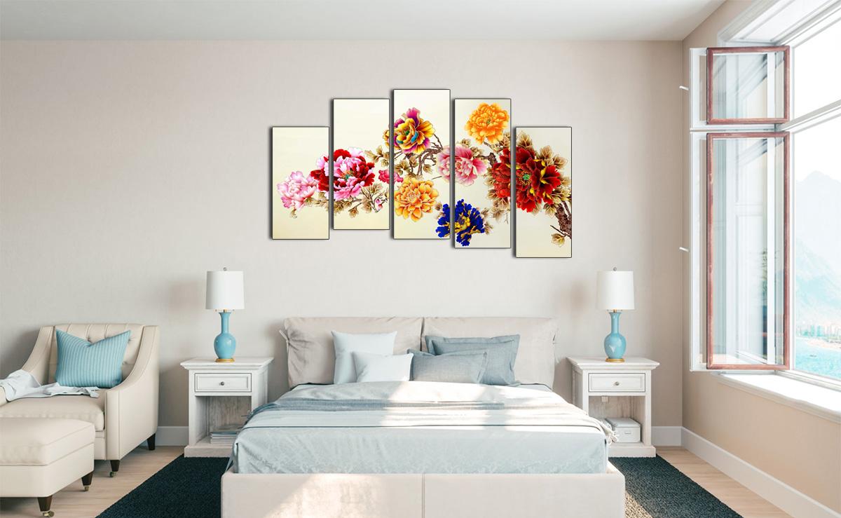 Hình ảnh Tranh hoa mẫu đơn treo tường phòng ngủ đẹp mã 1090