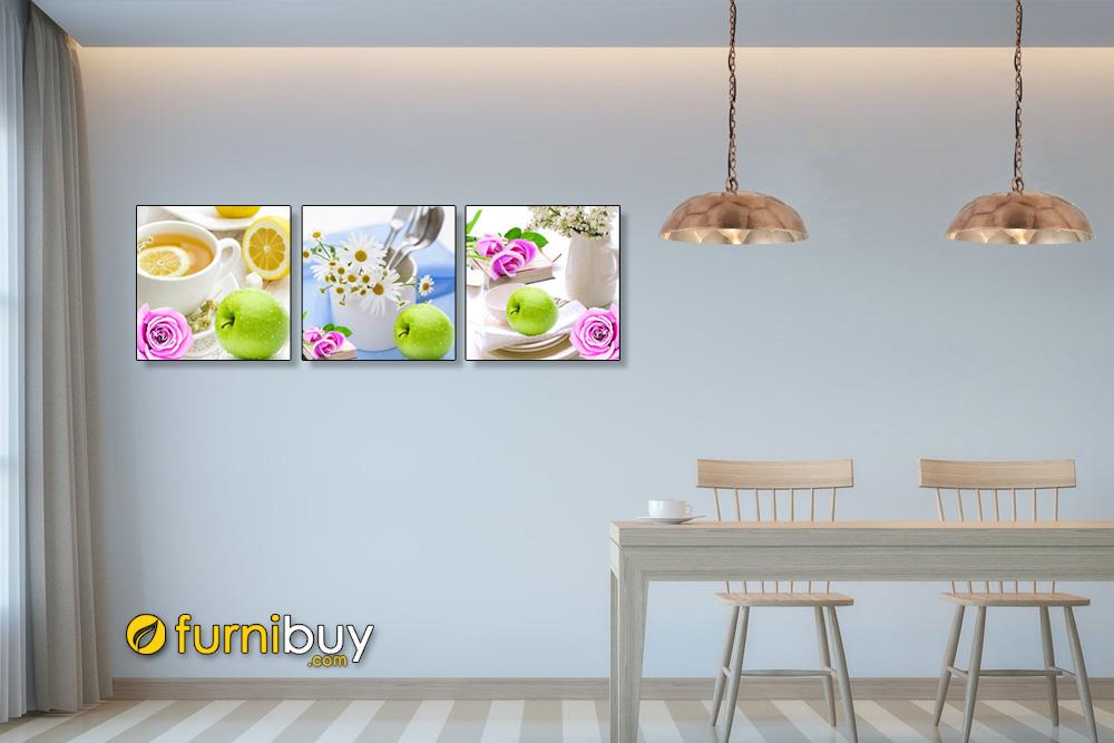 Tranh hoa quả ghép bộ treo tường phòng ăn đẹp AmiA1530