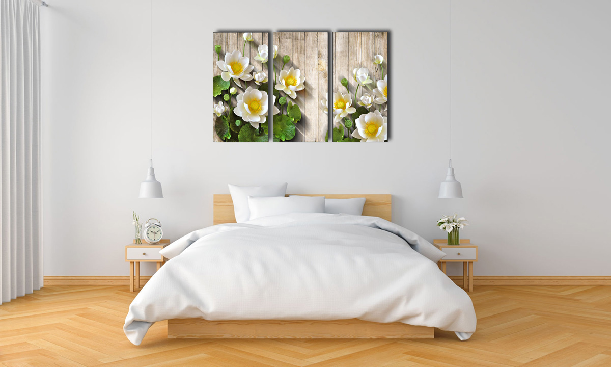 Hình ảnh Tranh hoa sen trắng treo tường phòng ngủ đẹp hiện đại