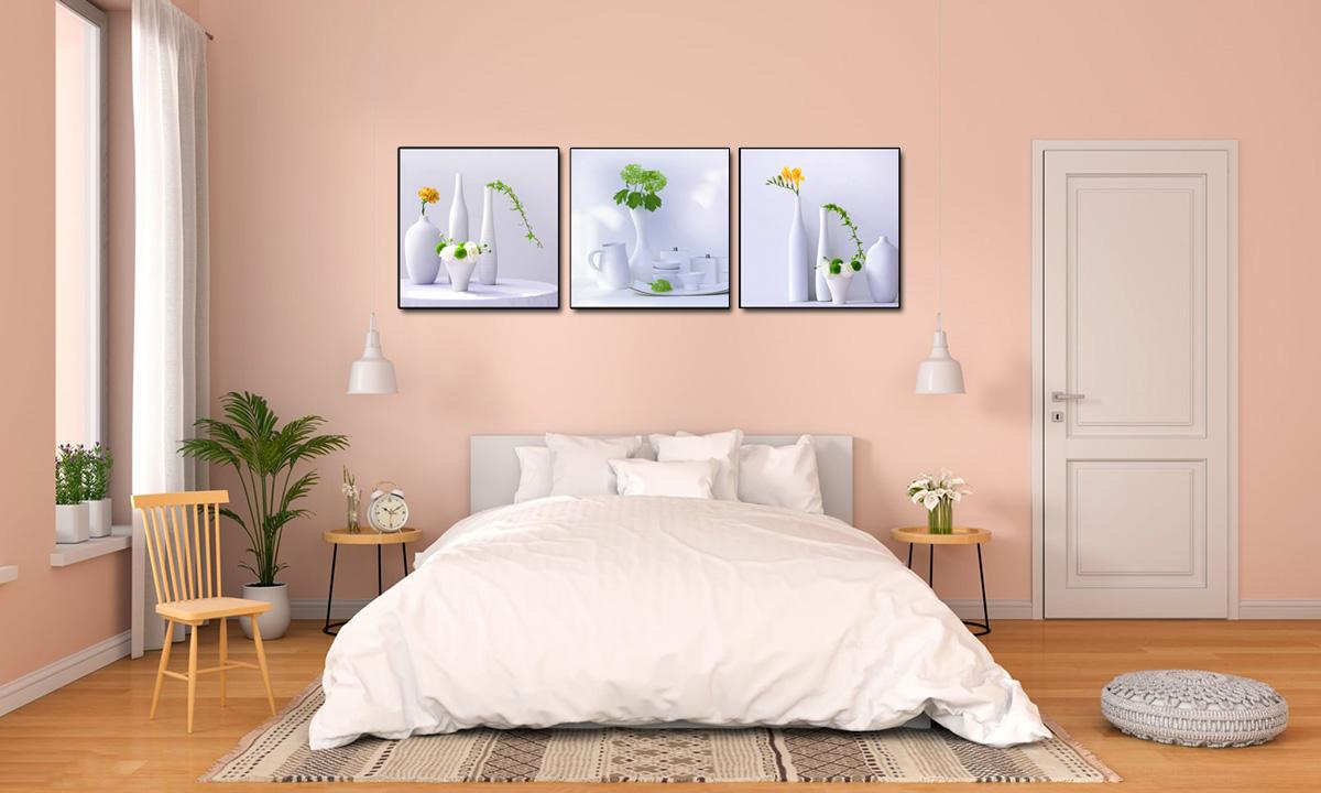 Hình ảnh Tranh lo hoa trang trí phòng ngủ đơn giản, đẹp hiện đại phong cách vintage mã 1318