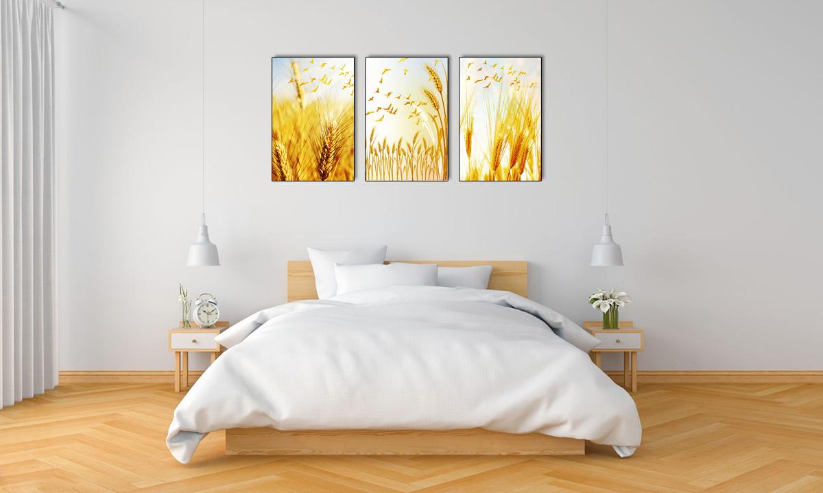Hình ảnh Tranh mệnh Kim treo phòng ngủ đẹp ghép bộ 3 tấm