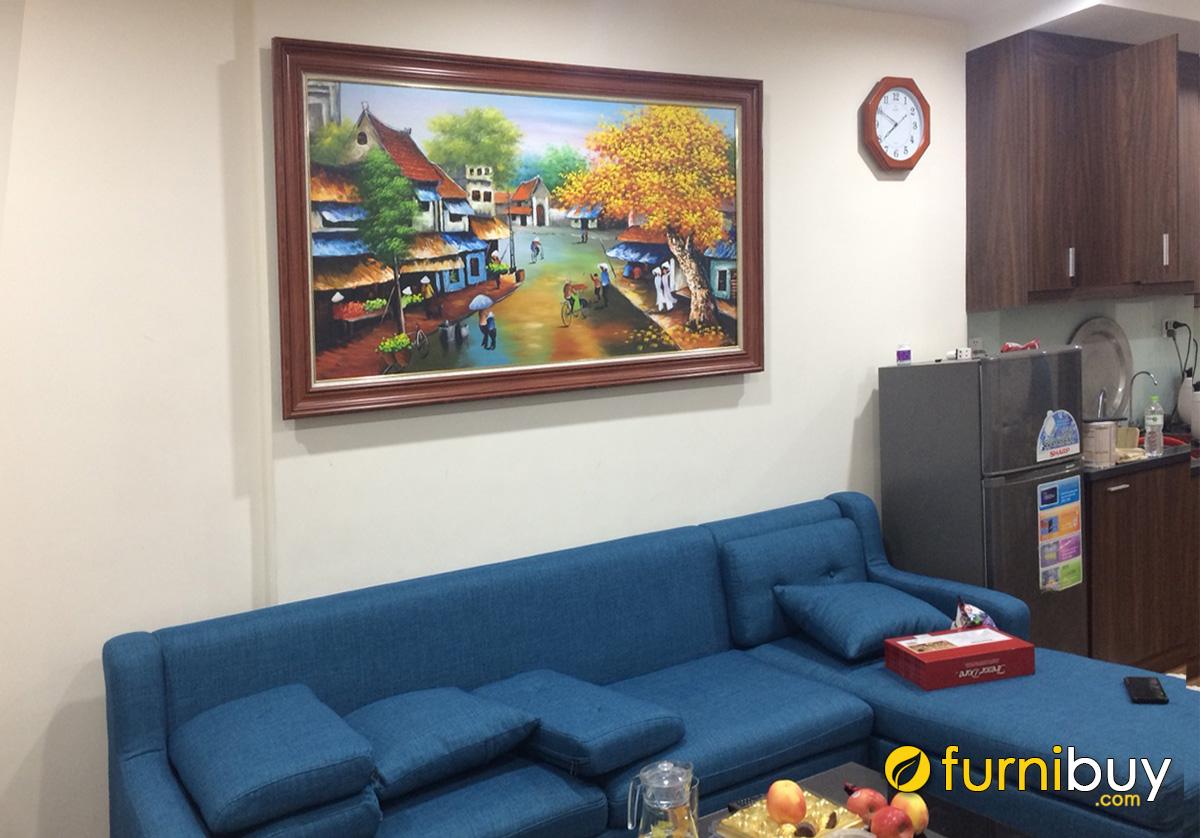 Hình ảnh Bức tranh sơn dầu phố cổ Hà Nội treo chung cư đẹp