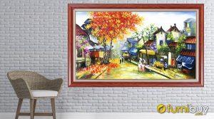 Hình ảnh tranh treo phòng khách đẹp vẽ sơn dầu