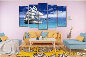 Tranh thuyền buồm treo phòng khách hiện đại mang lại sự may mắn, thuận lợi và bình an cho gia đình AmiA 1801