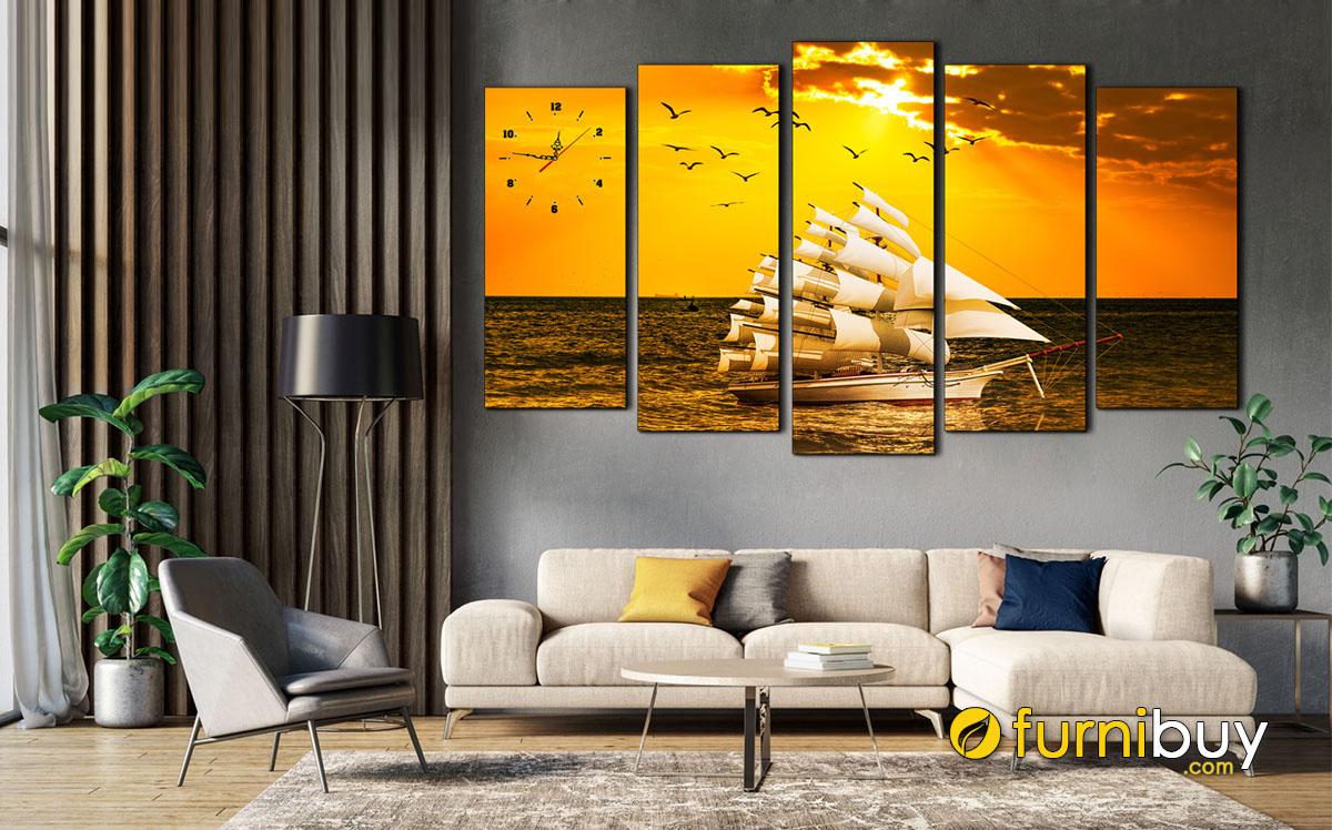 Hình ảnh Tranh thuận buồm xuôi gió treo phòng khách chung cư đẹp mã 1613